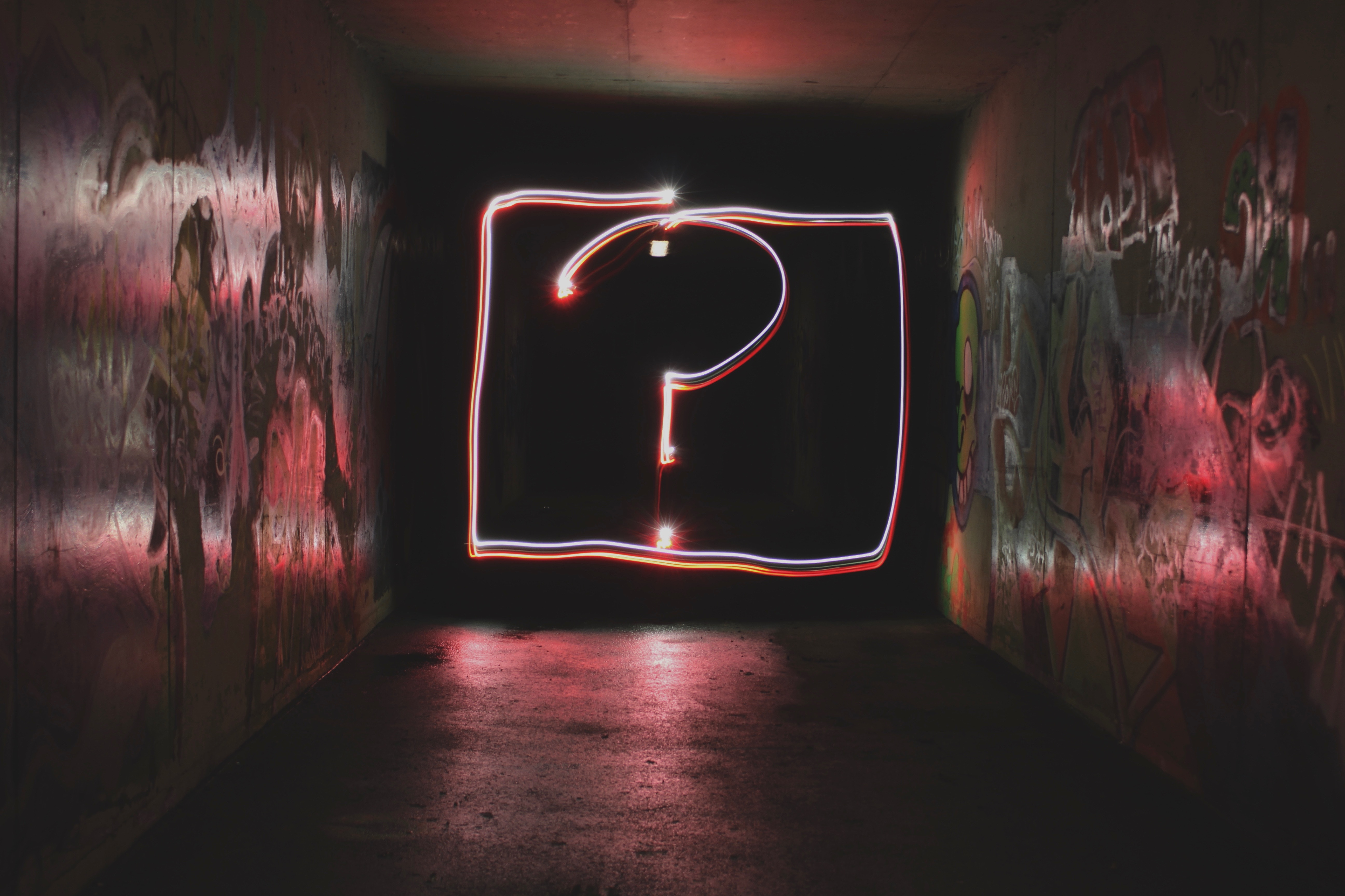 Image of a neon question mark