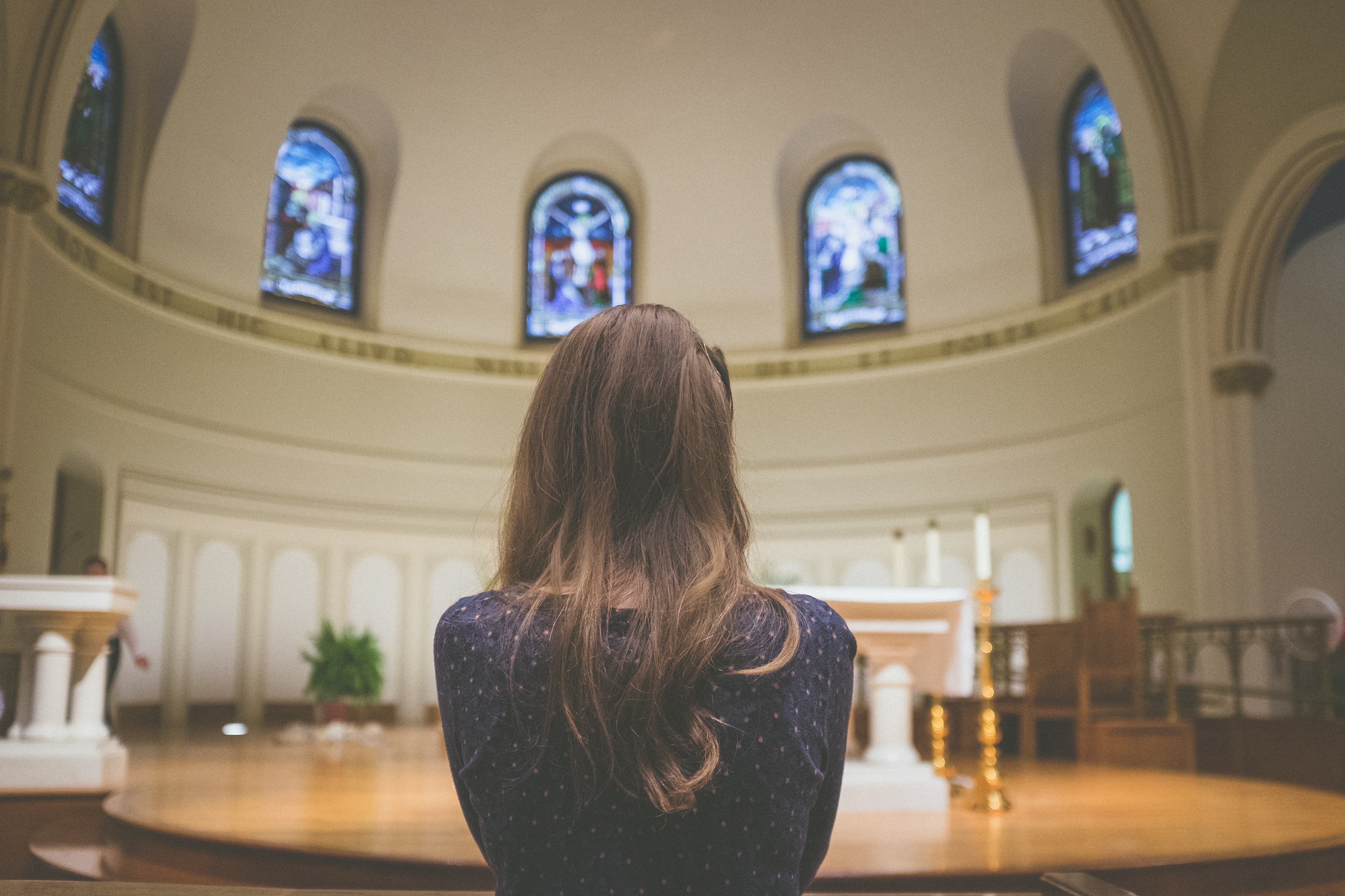 Image of a woman in a church