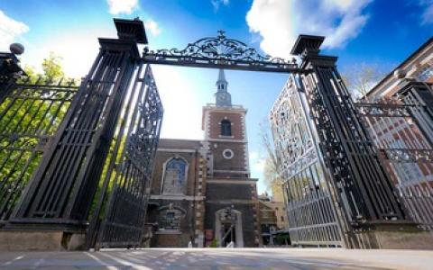 Image of the gates and tower of St James's Church, Piccadilly