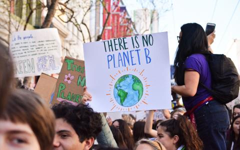 "Image of a placard with the words ""There is no Planet B"""