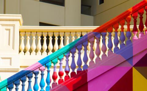 Image of a multicoloured flight of steps